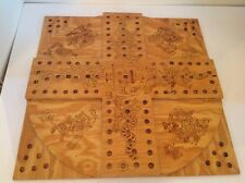 Hand Made Pyrography Aggravation Wood Game Board Figural Drawings Folk Art