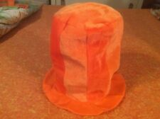 "Large Orange Plush Top Hat Costume Accessory 12"" Tall"