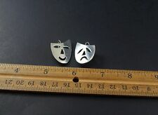 Theater Mask Happy Sad Earrings Vintage Mexican 925 Sterling Silver Actor