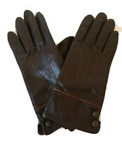 Marina Luna Leather Gloves Women's Size Large Brown