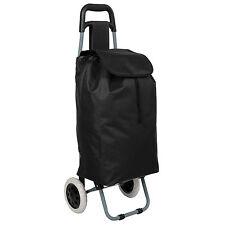 Carro carrito de la compra plegable con 2 ruedas cesta con bolsillo extra negro.