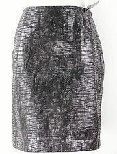 Dana Buchman Sz 6 Black Silver Foil Reptile Pttrn Lamb Skin Straight Skirt E039