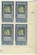 1932 Regno 100 lire Dante Posta Aerea blocco di 4 nuovo ** MNH