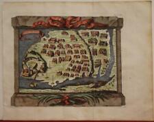 DIU INDIA 1756 JACQUES NICOLAS BELLIN UNUSUAL ANTIQUE COPPER ENGRAVED CITY MAP