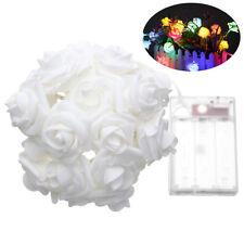 20 LED Rose Blume Lichterkette Fairy Light für Party Hochzeit Innen Dekor