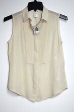 Levis - XS -NWT $78 - Solid Shimmery Ivory-Gold Sleeveless Tuxedo Pleated Blouse