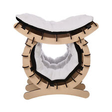 2 Layer Cat Bed Pet Kitten Cave W/ Soft Warm Mat Wooden Home Furniture Mdf