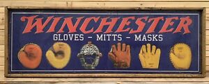 Antique Style Winchester Baseball Equipment Glove Trade Sign 8X24