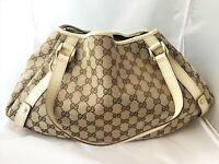 Genuine Gucci Abbey Hobo Beige Ivory Logo Bag Handbag Certificate Authenticity