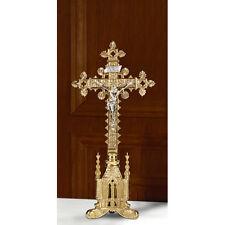 "San Pietro Altar Crucifix Polished Brass -- 17-1/2"" H, Base 5"" W , Cross 8-1/2"""