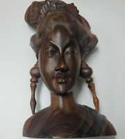 Indonesian Bali Statue Bust Woman Carved Wood Sculpture Detailed Signed Vintage
