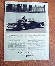 1963 Chrysler Imperial Crown Sedan Ad Independent Businessmen