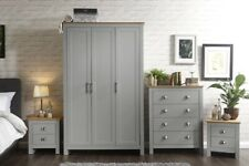 LANCASTER 4 PIECE BEDROOM SET WARDROBE BEDSIDE DRAWER CHEST - TWO TONE GREY/OAK