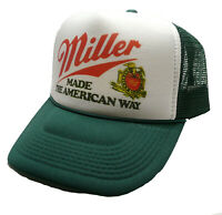 Vintage Miller Beer hat Made the American way trucker hat snap back dark green