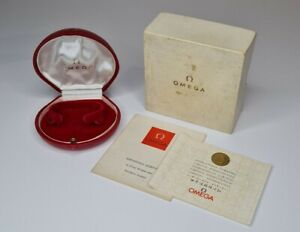 RARE VINTAGE OMEGA Watch Box Clam design with Guarantee + Outer Box 100% GENUINE