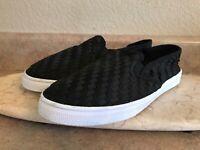 Womens Size 8 Black Weave Slip on Loafers Sneakers Skateboard Shoes US 8