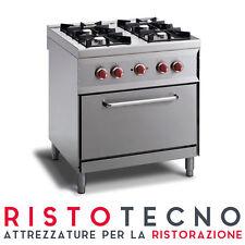 Cucina a GAS 4 fuochi + forno a gas PROFESSIONALE. Dim.cm. 80x70x85H.