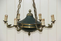 French  empire 6 arms Brass Swan arms Green tole chandelier