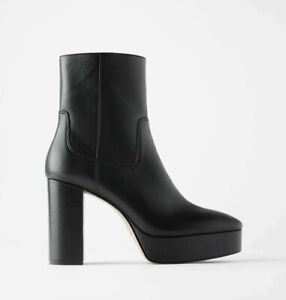 new ZARA Real Leather black platform high heels ankle boots,Airlift sole,6UK,39E