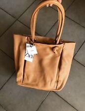 Zara Caramel / Tan Leather Tote Bag With Tubular Straps # H01