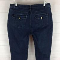 St. John's Bay womens size 12 stretch blue dark wash mid rise flap bootcut jeans
