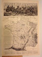 1870 'WAR MAP OF FRANCE' FRANCO-PRUSSIAN WAR IMPERIAL GERMANY WILHELM 32 x 22