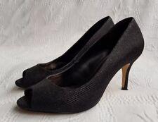 UNTOLD Women's Black Glittering Peep-Toe Heels/Court Shoes. Size UK 4, Euro 37.