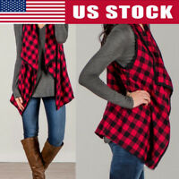 Women Sleeveless Long Plaid Waistcoat Blazer Jacket Suit Vest Cardigan Coat USA