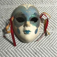 Blue Sparkly Hand Painted White Ceramic Decorative Mask