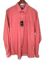 Van Heusen Mens Large L Long Sleeve Button Front Slim Fit Pink Rose Flex Shirt
