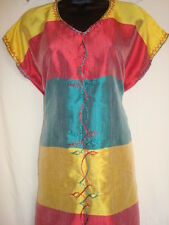 Red Green Gold Ethiopian coffee dress 100% cotton - hand embroidered , free size