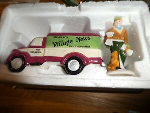 """Department 56 Snow Village """"Village News Delivery"""" set of 2 hand painted access"""