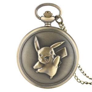 Vintage Quartz Pocket Watch Gift Men Pikachu Pokemon Causal Necklace Black Chain