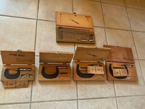 Vintage. USA 5 Sets Boxes SCHERR TUMICO Outside INSIDE MICROMETER SETs W CASEs