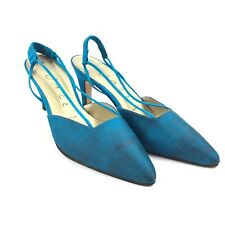 Vintage JAZZ brand Women's Shoes Blue Silk Suede Heels Made in Spain Sz 7.5M