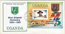 BOY SCOUTS --- UGANDA -  POSTAL HISTORY - FDC COVER 1983 - SOUVENIR SHEET