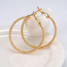 Gold Filled 35Mm Gf Fashion Jewelry Carved ring Hoop Women Earrings 18k Yellow