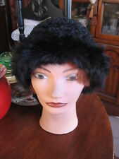 "Size 22.5""Inches 5""In Deep Women opossum fur jet black top kint polyester"