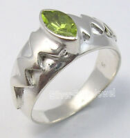 925 Sterling Silver MARQUISE PERIDOT LATEST STYLE CARVED Ring Any Size UNISEX