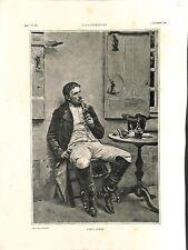 Soldats de Napoléon fumeur de pipe après le repas Ernest Meissonier GRAVURE 1886