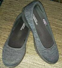 Sketchers Goga Max Go Step Lite Grey Black Comfort Walking Shoes Loafers Sz VGC