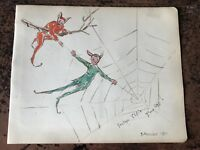 1911 small watercolour of elf's in a spiders web