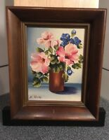 Vintage Pink Flowers in Vase 6x8 Oil Painting In Walnut Wood Frame Signed E.Rose