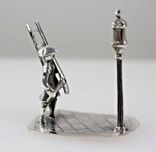 DUTCH SILVER MINI LAMP POST AND MAN WITH LADDER  COLLECTABLE MINIATURE FIGURINE