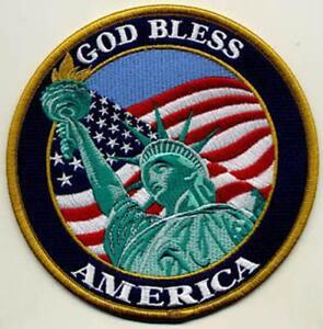 "God Bless America Patch; Lady Liberty - 5"" Circle"