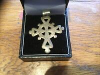 Antique Arts And Crafts Cross Pewter Pendant