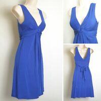 Jane Norman Vintage Y2K 00's Cobalt Blue Plunge Sleeveless Party Dress size 8