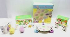 Fitz & Floyd Celebrations Easter Bunny Egg Dish Salt & Pepper Tumbler Candle Lot