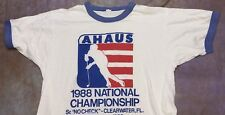 SDN Vtg thin 50/50 screen stars ringer 1988 AHAUS hockey no check t-shirt Sm/Med