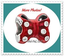 Authentic CHAMILIA Charm Bead DISNEY MINNIE MOUSE Hair Bow Sterling Silver & Red